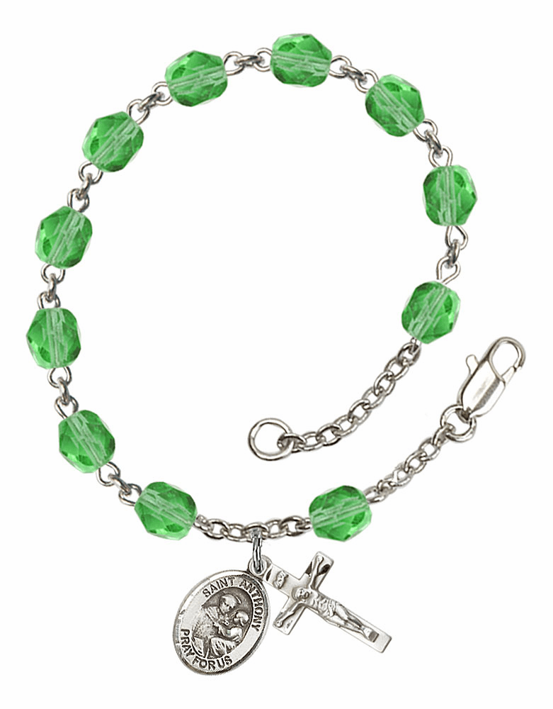 August Peridot St Anthony of Padua Birthstone Rosary Bracelet by Bliss