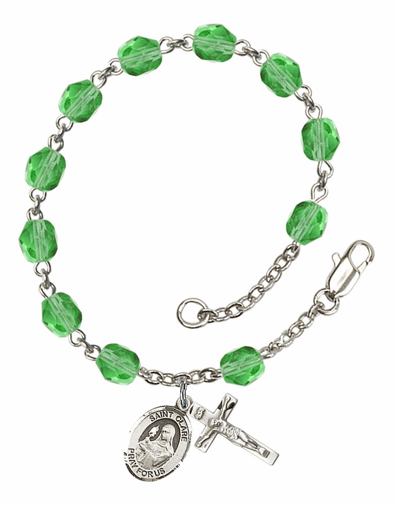 August Peridot St Clare of Assisi Birthstone Rosary Bracelet by Bliss