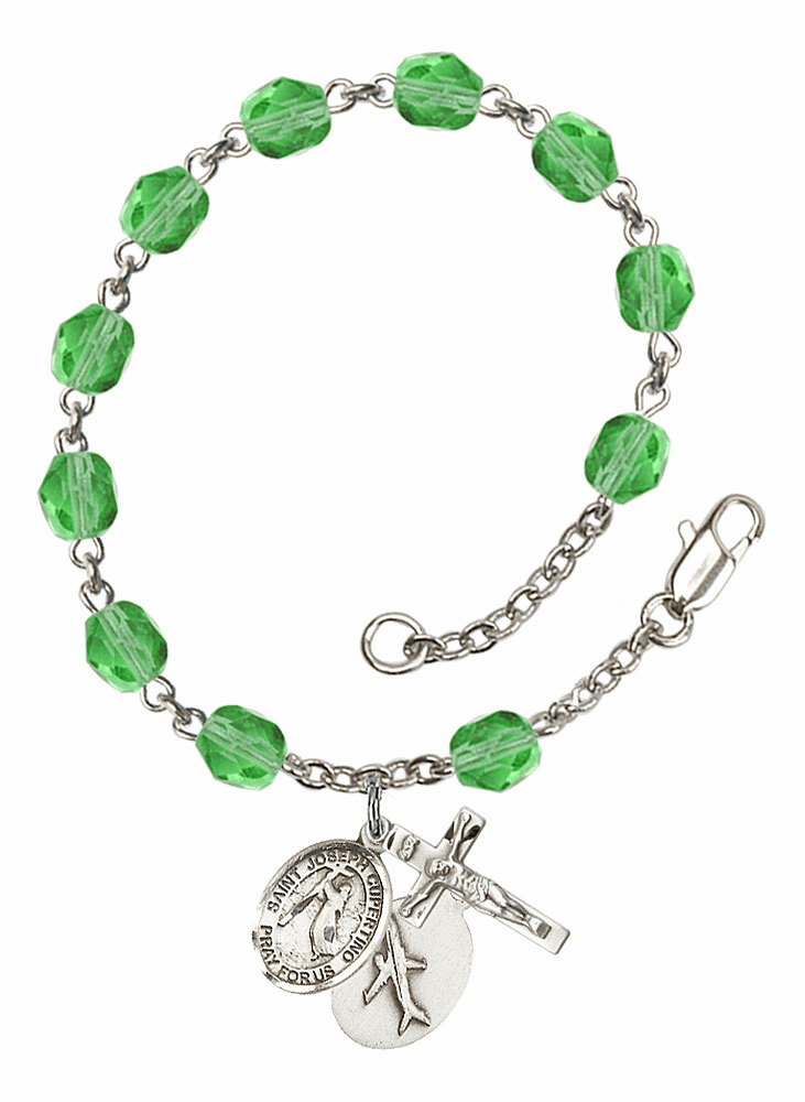 August Peridot St Joseph of Cupertino Airplane Birthstone Rosary Bracelet by Bliss