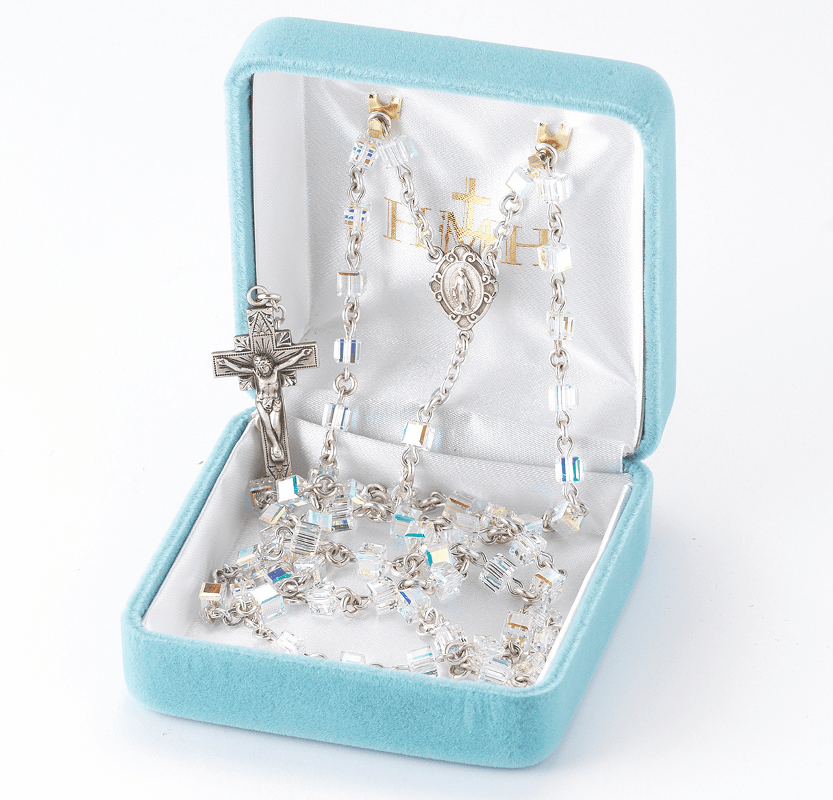 Aurora Borealis 4mm Swarovski Crystal Cube Sterling Silver Childs Rosary by HMH Religious