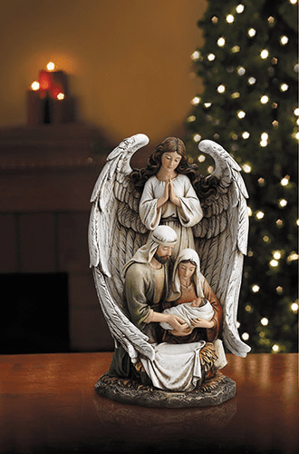"""Avalon Gallery 10"""" Wings Open Guardian Angel w/Holy Family Figurine"""