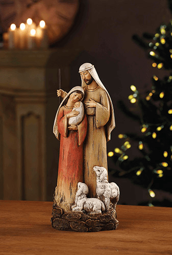 "Avalon Gallery 12"" Wood-craved Look Holy Family with Lambs Figure"