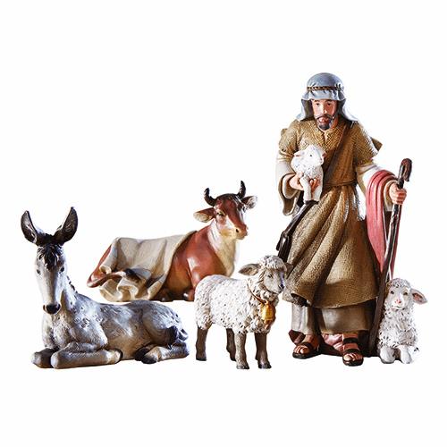 Avalon Gallery Bethlehem Night Christmas Shepherd w/Animals Nativity Set