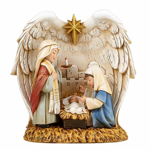Avalon Gallery Children Christmas Nativity with Angel Wings Figurine