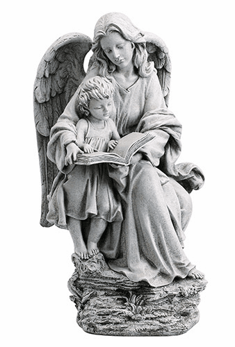 """Avalon Gallery Christian Guardian Angel with Child Reading 19"""" Garden Statue"""