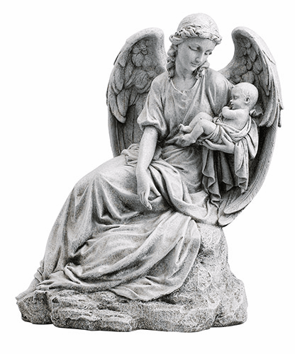 """Avalon Gallery Christian Guardian Angel with Infant 16.5"""" Garden Statue"""