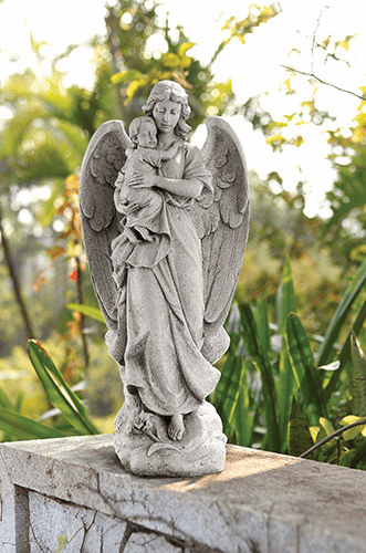 """Avalon Gallery Christian Guardian Angel with Infant 22"""" Garden Statue"""