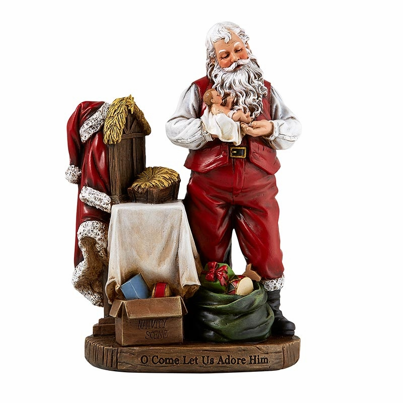 Avalon Gallery Christmas Adoring Santa Claus with Baby Jesus Figurine