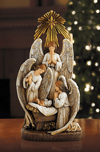 Avalon Gallery Christmas Angels in Adoration of Baby Jesus Figurine