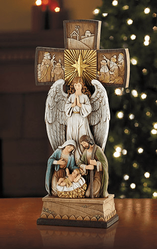 Avalon Gallery Christmas Cross Nativity w/Angel Figurine