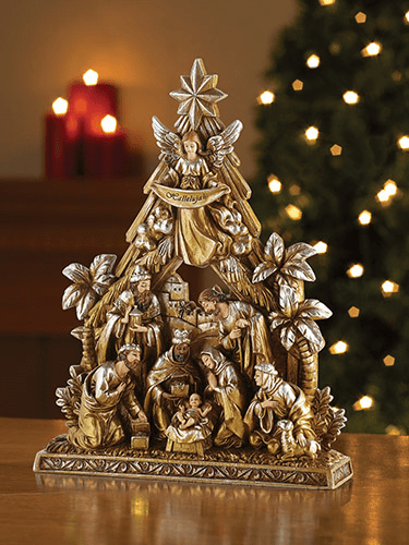 Avalon Gallery Christmas Metallic Nativity Figurine