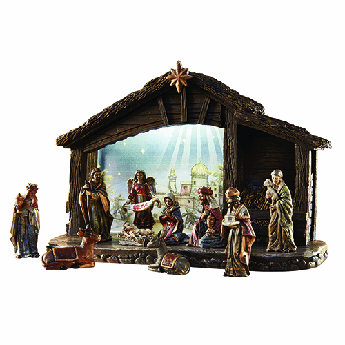 Avalon Gallery Christmas Nativity Set with Lighted Stable