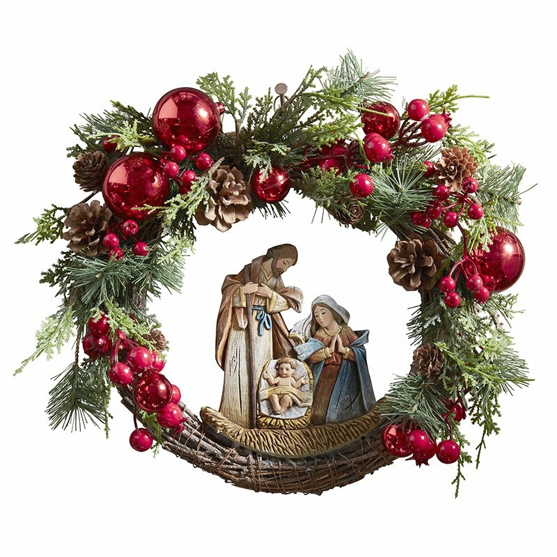 Avalon Gallery Christmas Nativity Wreath with the Holy Family