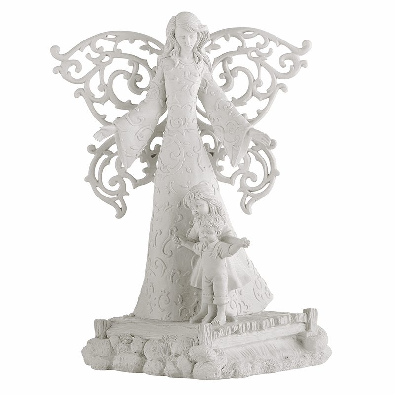 Avalon Gallery Cielo White Guardian Angel Statue with Children