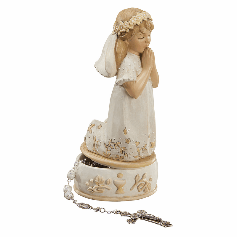 Avalon Gallery First Holy Communion Girl's Rosary Keepsake Box