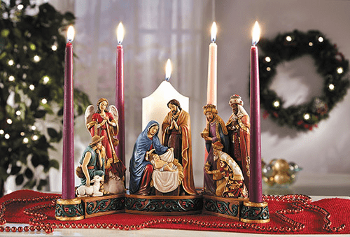 Avalon Gallery Michael Adams Advent Nativity Candle-holder Wreath