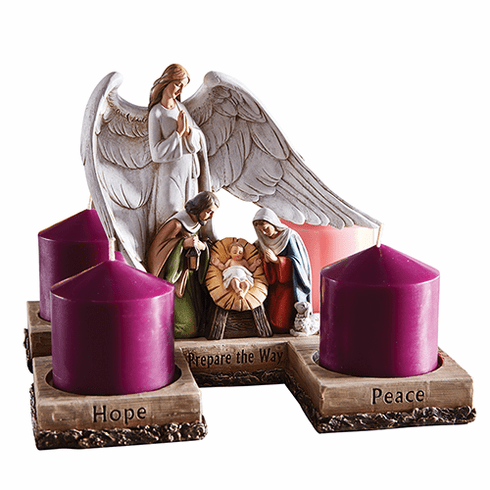 Avalon Gallery Nativity Scene w/Angel Advent Candleholder