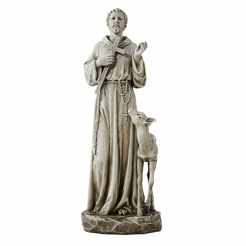 Avalon Gallery Patron Saint St Francis with Deer Statue