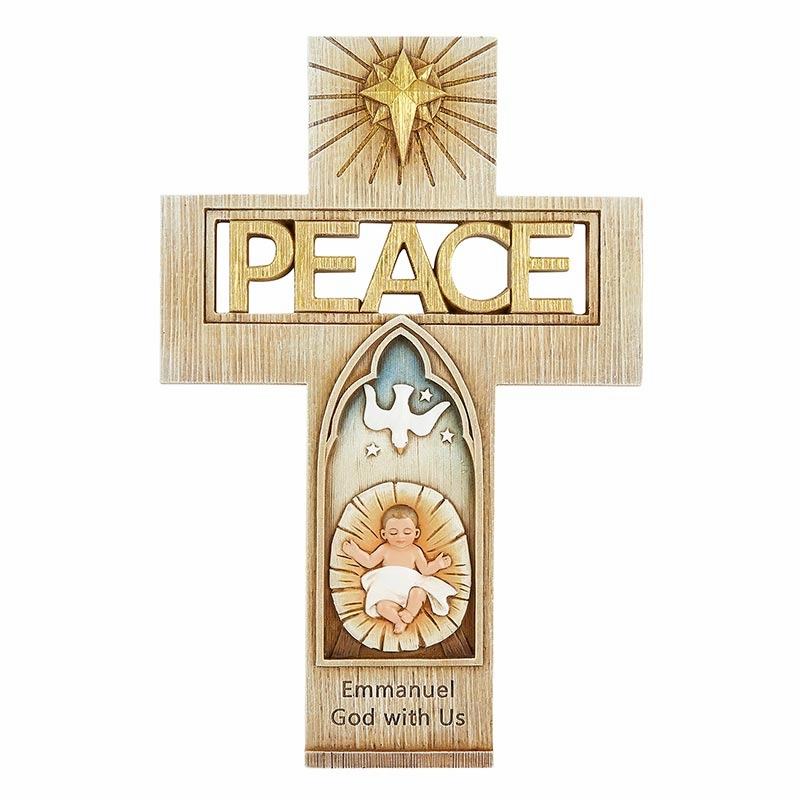 Avalon Gallery Peace Wall Cross with Baby Jesus Figurine