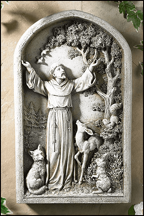 Avalon Gallery St Francis with Animal Patron Saint Wall Plaque