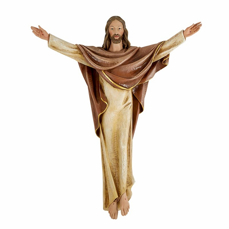 Avalon Gallery Val Gardena Church Size Risen Christ 36 inch Wall Statue