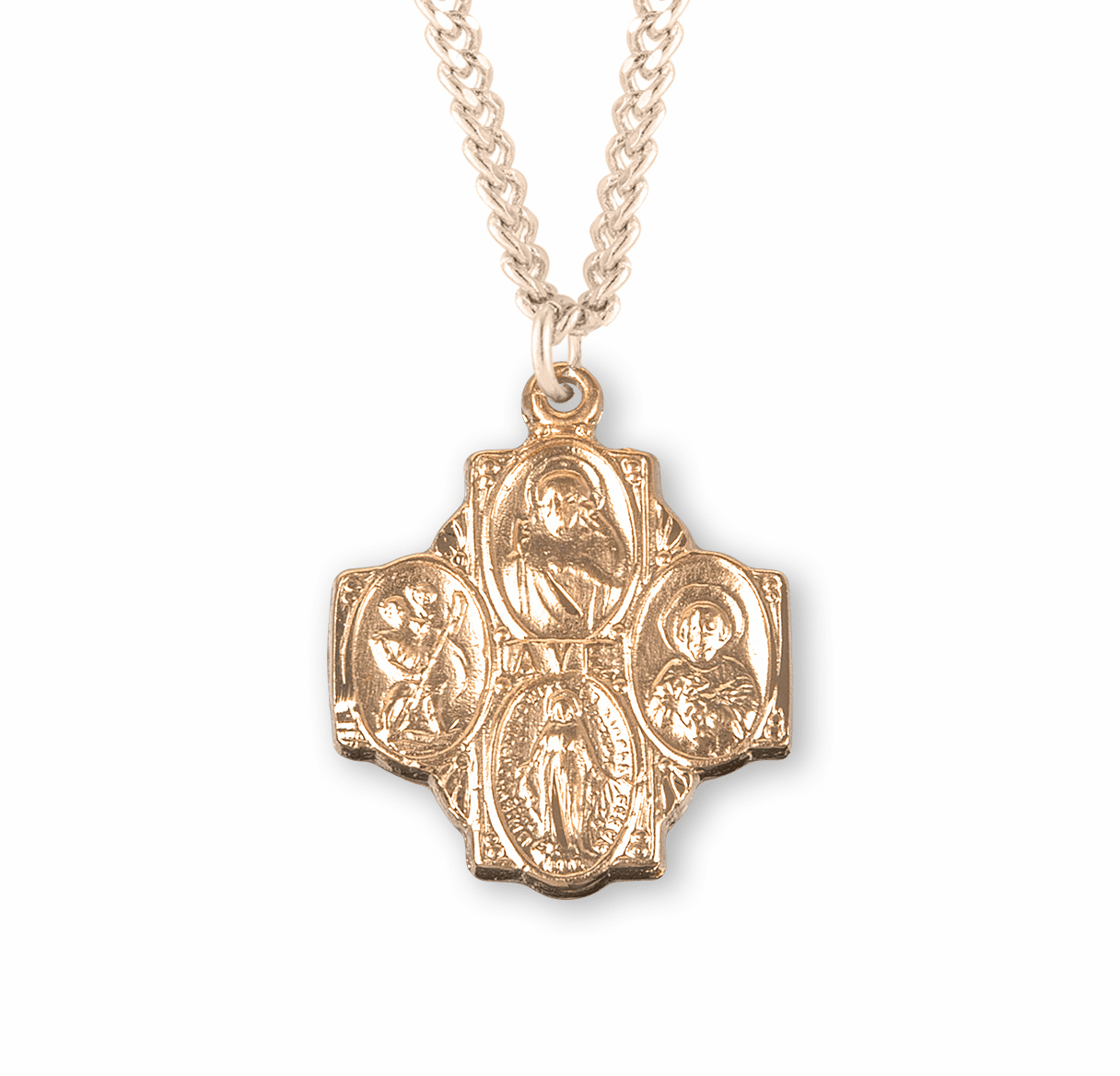 Ave Center Four-Way Gold/Sterling Cross Medal Necklace by HMH Religious