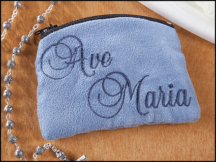 Ave Maria Blue Cloth Holy Rosary Cases  3pcs