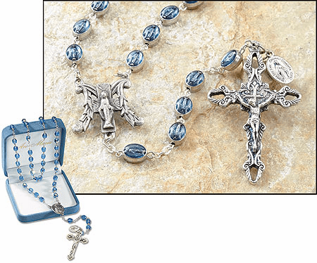 Ave Maria Blue Miraculous Medal Catholic Prayer Rosary