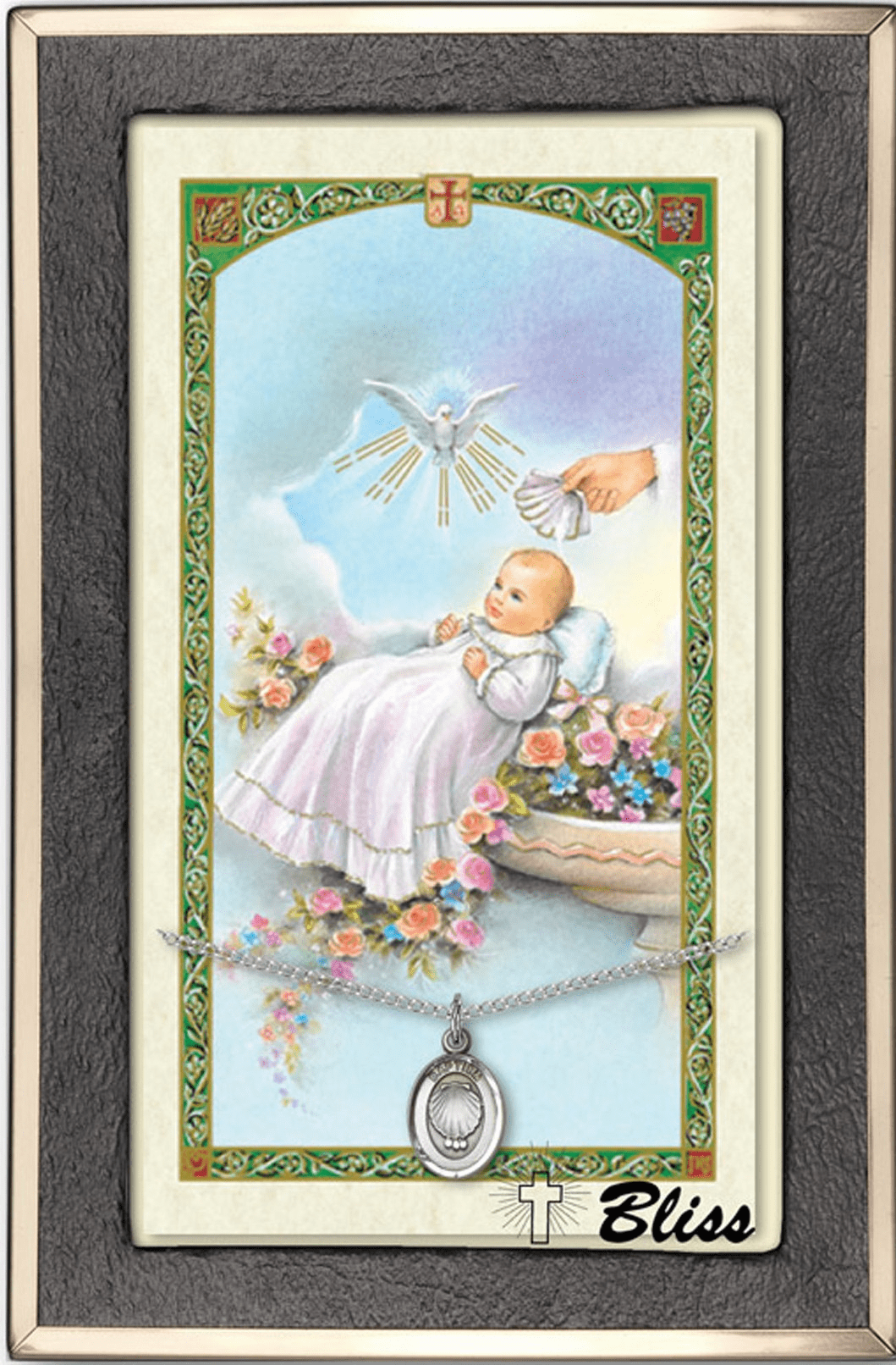 Baptism Blessing Pendant and Prayer Card Gift Sets