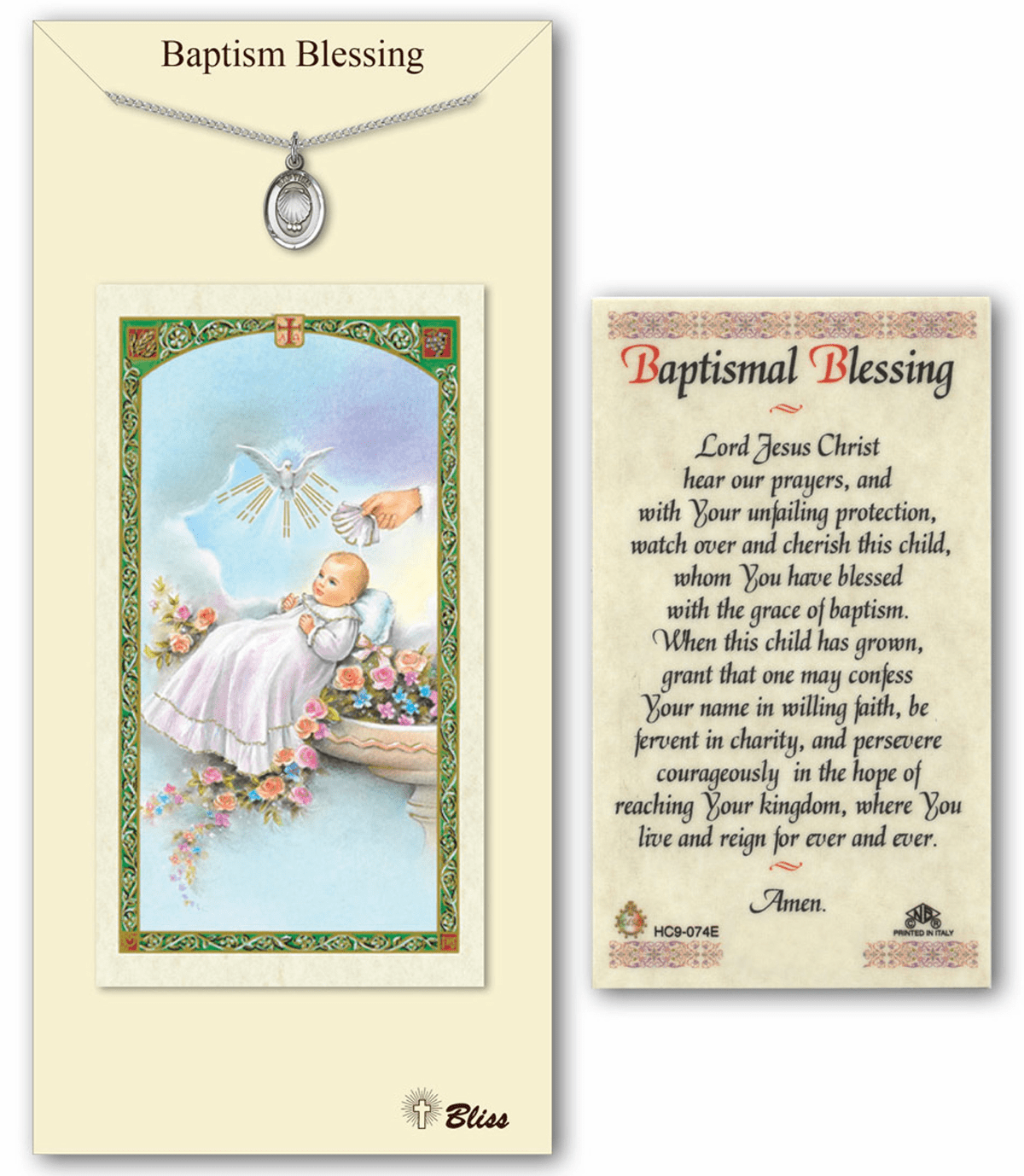 Baptism Blessing Pendant & Prayer Card Set