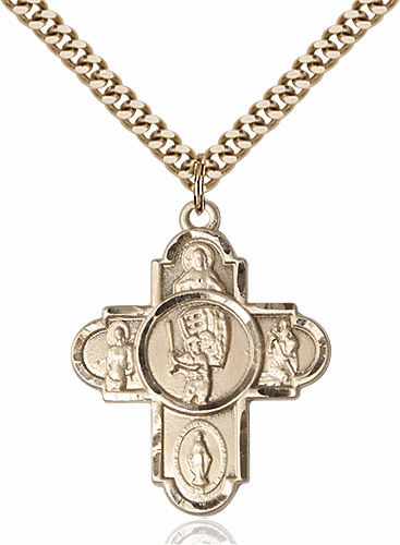 Baseball Sports Patron Saint 5-Way Cross Gold-Filled Necklace by Bliss
