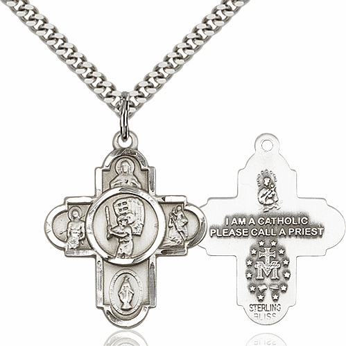 Baseball Sports Patron Saint Sterling Silver 5-Way Cross Medal Necklace by Bliss