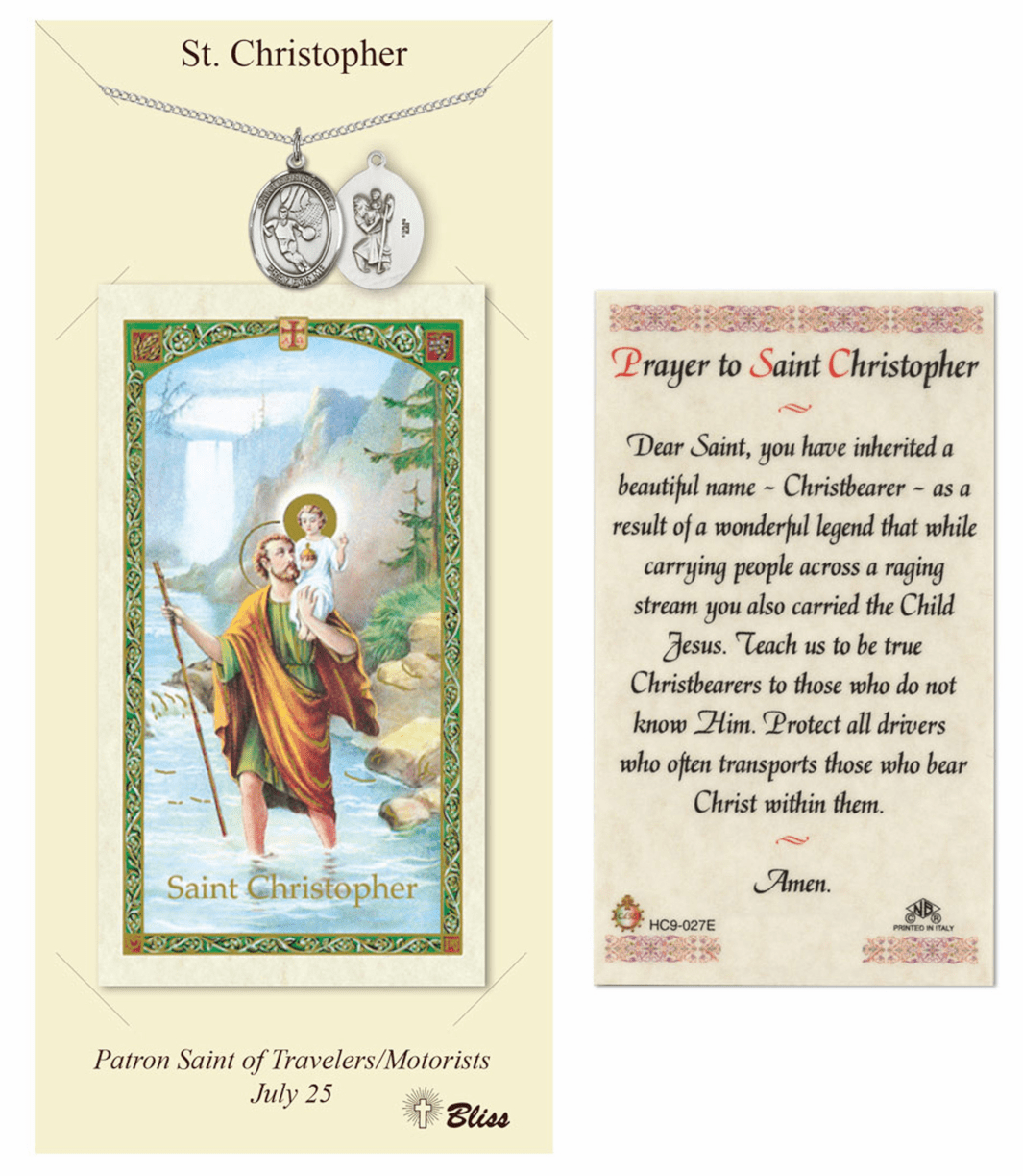 Bliss Basketball St Christopher Prayer Card & Pewter Necklace