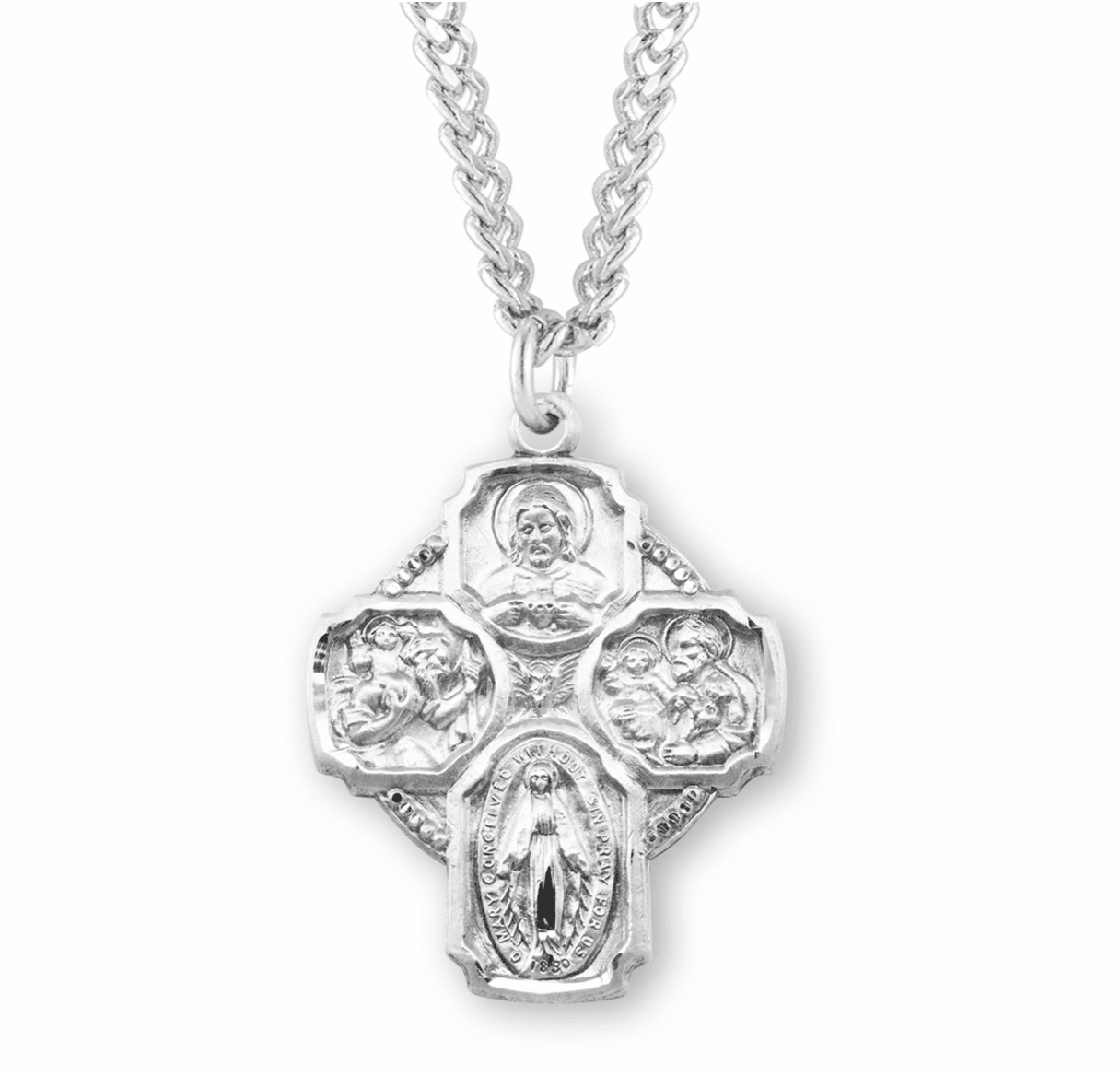 Beaded 4-Way Cross w/Doves Medal Necklace by HMH Religious