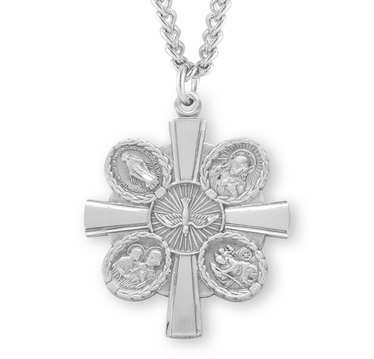Beautiful Cross Sterling Silver Four-Way Medal Necklace by HMH Religious