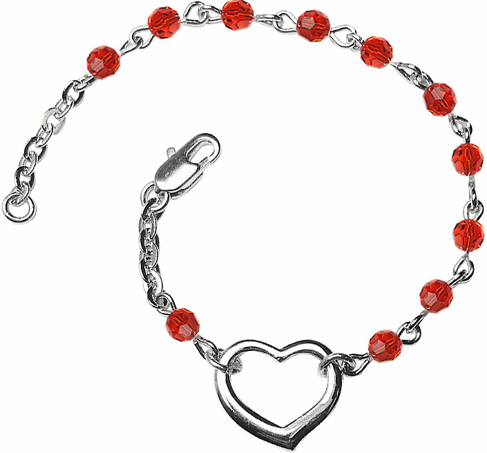 Birhtstone July Ruby Beads w/Silver-plated Heart Bracelet by Bliss Mfg