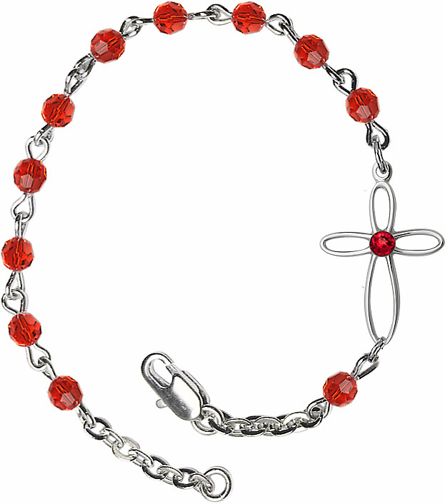 Birhtstone July Ruby Beads w/Silver-plated Loop Cross Bracelet by Bliss Mfg