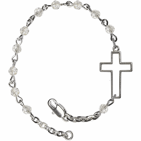 Birthstone April Crystal Beads w/Silver-plated Cross Bracelet by Bliss Mfg