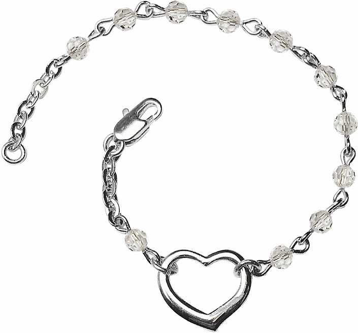 Birthstone April Crystal Beads w/Silver-plated Heart Bracelet by Bliss Mfg