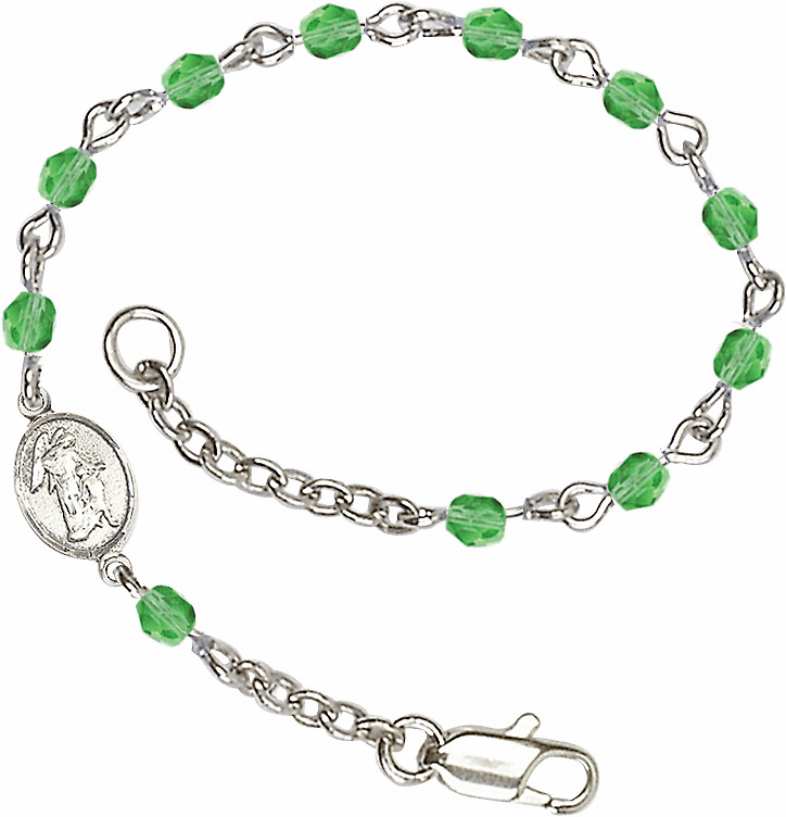 Birthstone August Peridot Checo Fire Polished Beads w/Pewter Guardian Angel Charm Bracelet by Bliss Mfg