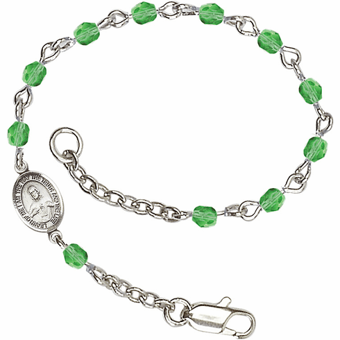 Birthstone August Peridot Checo Fire Polished Beads w/Pewter Sacred Heart Scapular Charm Bracelet by Bliss Mfg