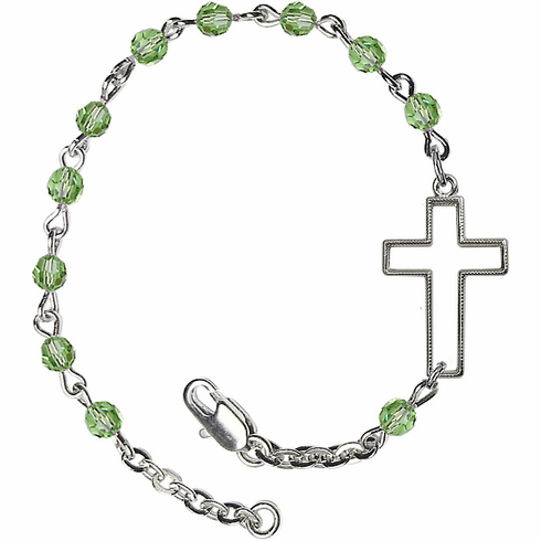 Birthstone August Peridot Swarovski Crystal Beads w/Silver-plated Cross Bracelet by Bliss Mfg
