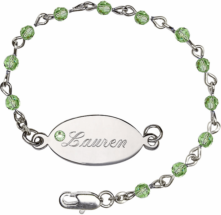 Birthstone August Peridot Swarovski Crystal Beads w/Silver-plated Engravable ID Bracelet by Bliss Mfg