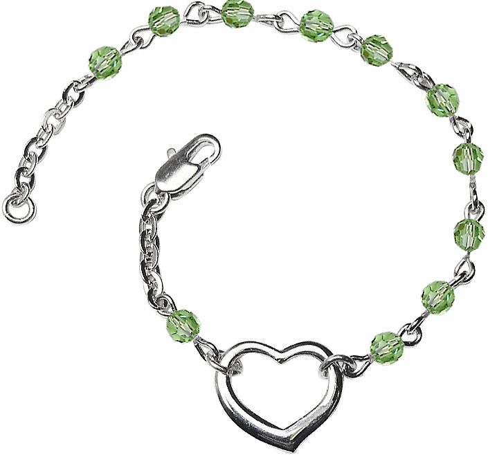 Birthstone August Peridot Swarovski Crystal Beads w/Silver-plated Heart Bracelet by Bliss Mfg