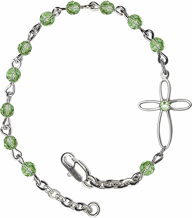 Birthstone August Peridot Swarovski Crystal Beads w/Silver-plated Loop Cross Bracelet by Bliss Mfg