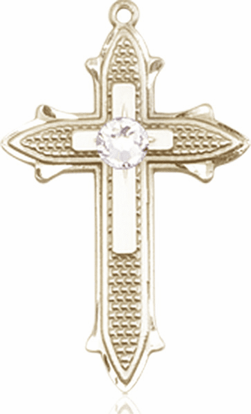 Bliss Birthstone Apr-Crystal Double Detailed 14kt Gold-filled Cross Pendant