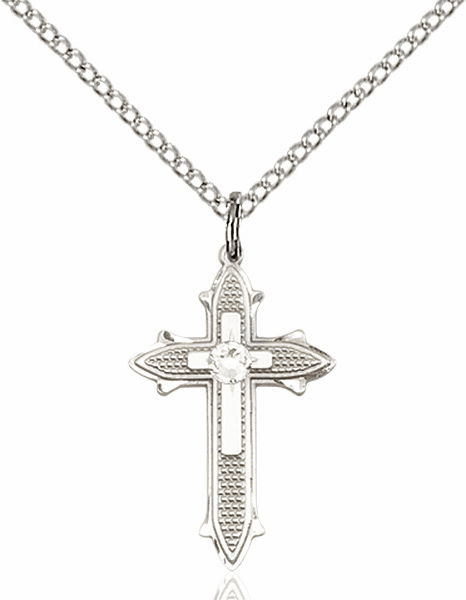 Bliss Birthstone Apr-Crystal Double Detailed Cross Necklace