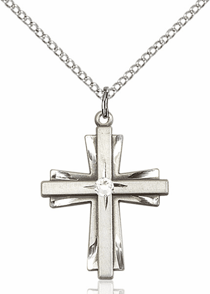Birthstone Crystal April Double Etched Cross Necklace by Bliss