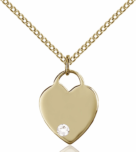 Birthstone Crystal April Heart 14kt Gold-filled Charm Necklace by Bliss