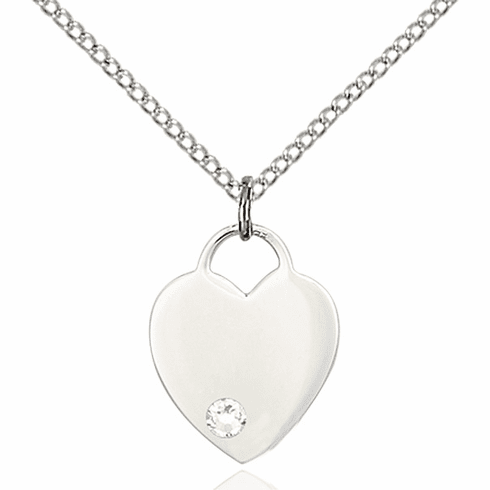 Birthstone Crystal April Heart Charm Necklace by Bliss
